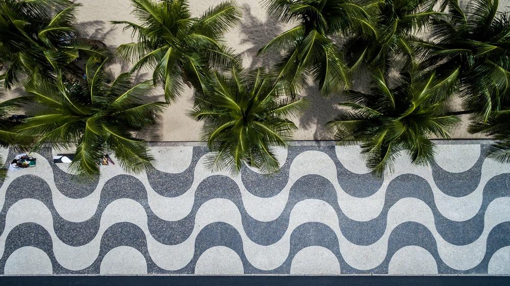 Top View of Copacabana beach with mosaic of sidewalk in Rio de Janeiro. Brazil.jpeg